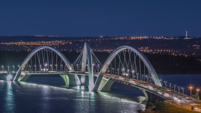 tl, ls, ha day to night, traffic crosses ponte juscelino kubitschek (bridge) at rush hour / brasilia, brazil - brasilia stock videos and b-roll footage