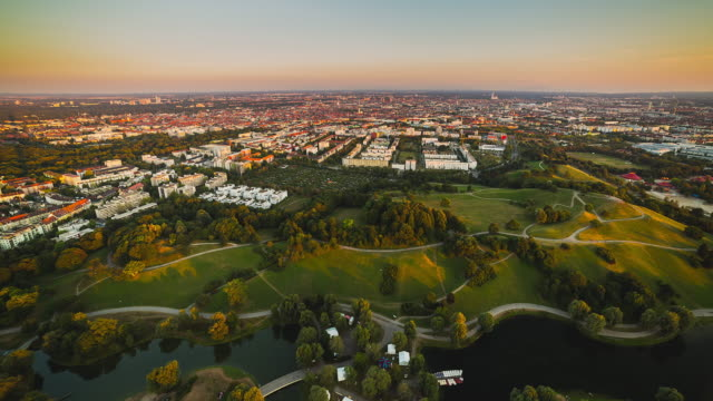 T/L day to night transition overlooking Munich and the Olympia Park
