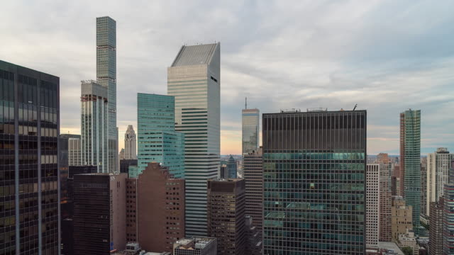 Day to night transition time lapse from unique rooftop view of Citigroup Citicorp Center, 432 Park ave. Manhattan, NYC.