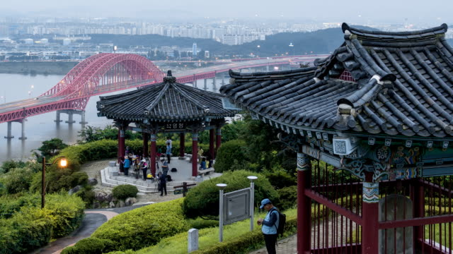 stockvideo's en b-roll-footage met day to night view of deokyangjeong gazebo at haengjusanseong fortress - gazebo