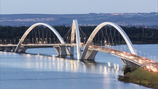t/l, ls day to night view of juscelino kubitschek bridge (ponte jk) / brasilia, brazil - brasilia stock videos and b-roll footage