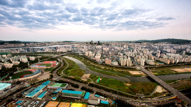 day to night view of mok-dong sports complex and annyangcheon stream - mok stock videos and b-roll footage
