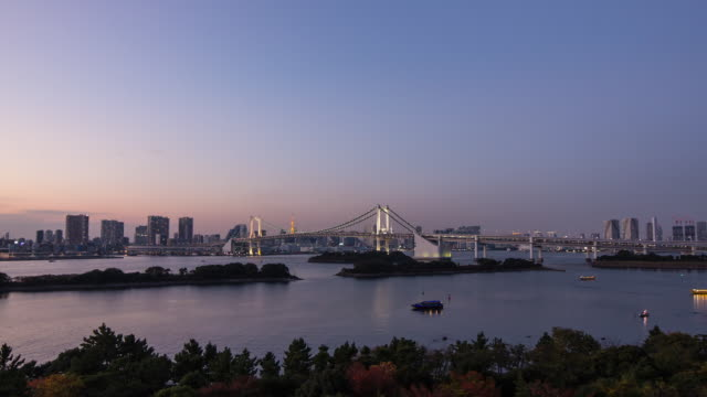 day to night view of rainbow bridge at odaiba - tokyo bay stock videos and b-roll footage