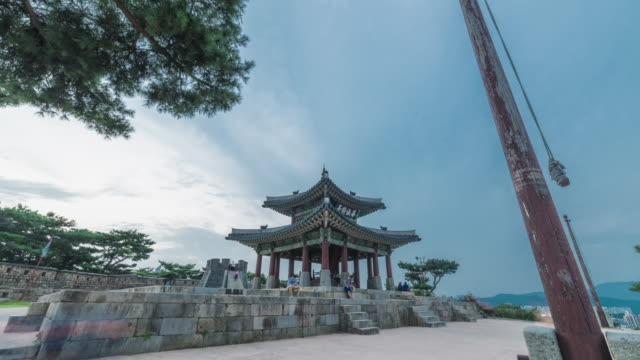Day to night view of Seojangdae(Pavilion) and Tourist in Suwon Hwaseong (UNESCO World Heritage Sites)