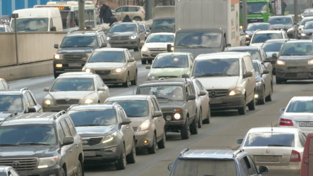 Day traffic on the Moscow city road