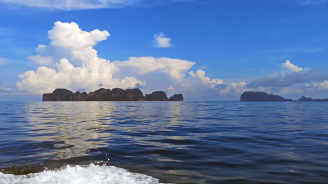 day trip by boat to phi phi islands, thailand - phi phi le stock videos & royalty-free footage