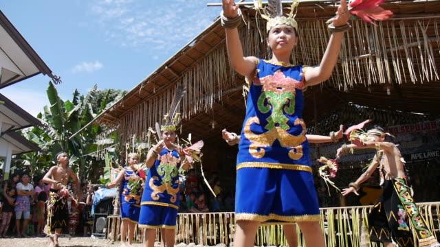 vídeos y material grabado en eventos de stock de dayak tabalong doing ritual harvesting ceremony dayak tabalong is one of the dayak tribe of clumps ot danum / clump barito kingdom of hamlet groups... - cabaña de paja