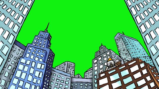 日中のオフィスビルにグリーンスクリーン - 尖り屋根点の映像素材/bロール