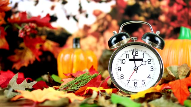 daylight savings time.  2 o'clock time on clock in autumn season. - changing clock stock videos and b-roll footage