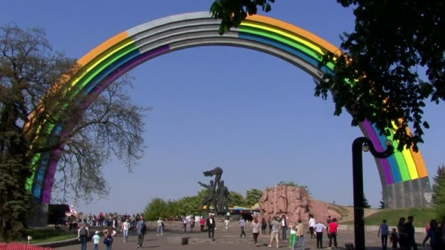vídeos de stock e filmes b-roll de days before the extravaganza-filled eurovision song contest final in kiev an annual event embraced by the lgbt community ukraine's celebrate... - ucrânia