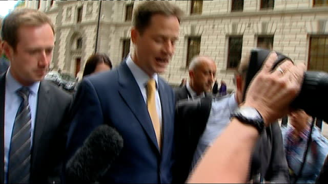 growing speculation about benefit cuts ext clegg along and speaking to press [asked are there going to be cuts on benefits] comprehensive spending... - press release stock videos and b-roll footage