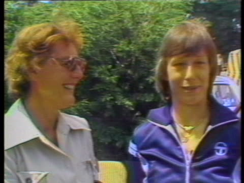 martina navratilova is seen standing next to mother jana navratilova and speaks about her mother's arrival in london to watch her compete in the 1979... - sport stock videos & royalty-free footage