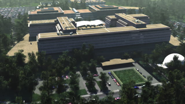 ws aerial daytime cg shot of cia building / washington, district of columbia, united states  - 本部点の映像素材/bロール