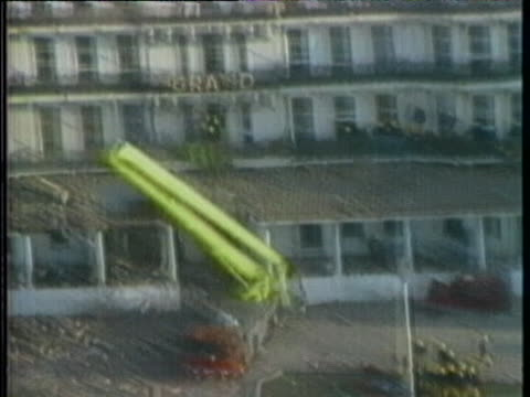daytime clips capture the exterior of the grand brighton hotel, following the detonation of a long-delay timebomb that was planted by the provisional... - crime or recreational drug or prison or legal trial stock videos & royalty-free footage