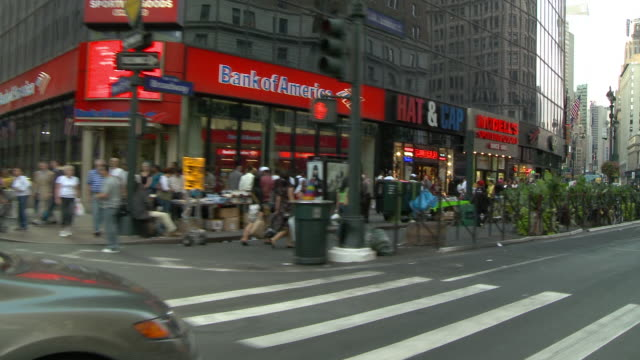 cpov / side / front view / daytime driving through manhattan / new york city / ny ny - 34th street stock videos and b-roll footage