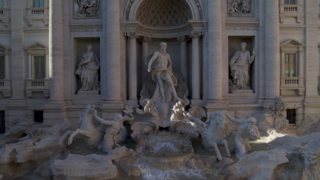 daytime drone flight of a deserted trevi fountain in rome, italy during the covid 19 shutdown/corona lockdown in 2020 - international landmark stock videos & royalty-free footage
