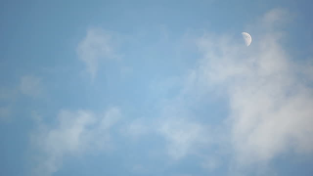 Daytime Moon and Clouds Time Lapse