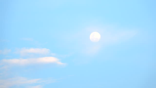 daytime moon with passing clouds slowly - giorno video stock e b–roll