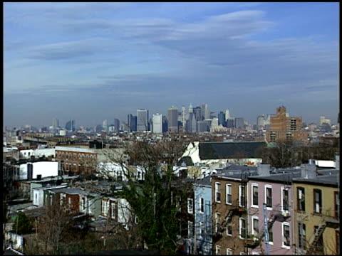 daytime, on downtown manhattan skyline from rooftop in brooklyn- post september 11, 2001. - 11 september attackerna 2001 bildbanksvideor och videomaterial från bakom kulisserna