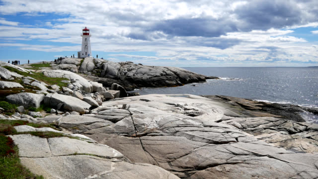 daytime pan to peggy's cove - nova scotia stock videos and b-roll footage