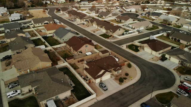 daytime suburb middle and working class western usa real estate market 4k drone video series - southwest usa stock videos & royalty-free footage