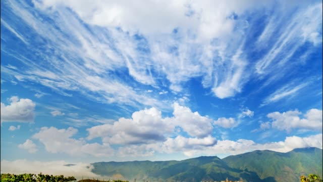 daytime time lapse of tropical clouds evolving and moving through the sky at different heights - south america stock videos & royalty-free footage