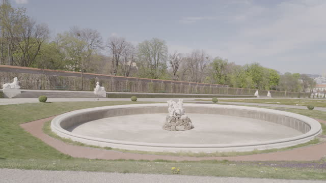 daytime view of a deserted park of belvedere with a shut-off fountain in vienna, austria during the covid 19 shutdown/corona lockdown - belvedere palace vienna stock videos & royalty-free footage