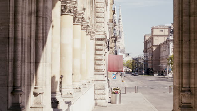 daytime view of a deserted street that leads to the votive church with a view of the church in the distance in vienna, austria during the covid 19... - april stock videos & royalty-free footage