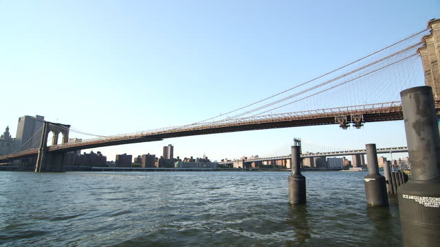 Daytime wide shot of Brooklyn Bridge with Manhattan in the background.