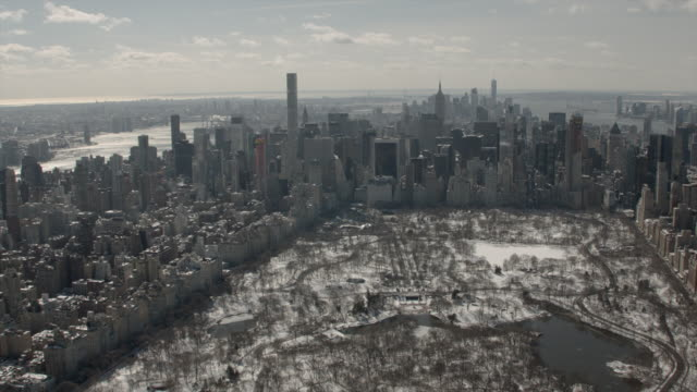 Daytime Winter Aerial View Of Midtown Manhattan and Central Park New York City