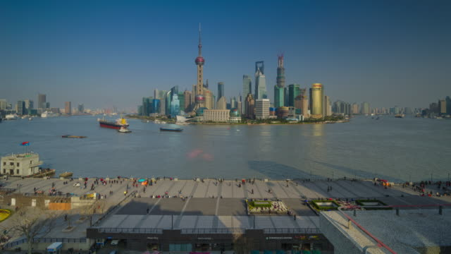 Daytime with view of the Bund and Pudong. Shanghai, China.