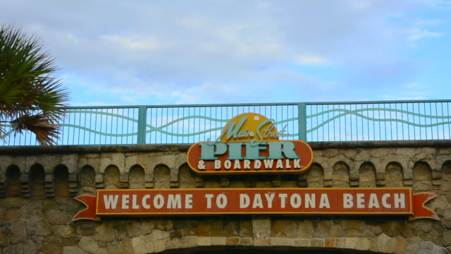 Daytona Beach Florida Famous Main Street Pier And Boardwalk Sign On Water For Tourists With