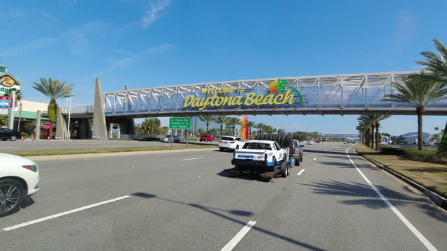 daytona beach traffic and city sign - street name sign stock videos & royalty-free footage