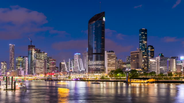 day-to-night time lapse footage of brisbane, qld, australia - waterfront stock videos & royalty-free footage