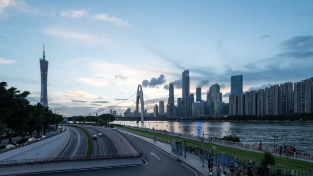 day-to-night time lapse of guangzhou skyline - guangzhou stock videos & royalty-free footage