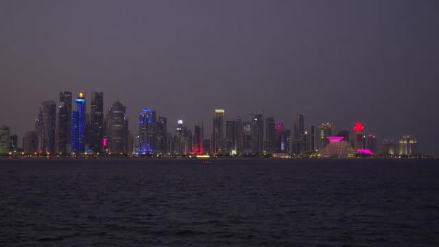 Daytonight time lapse of the Doha Qatar skyline at night