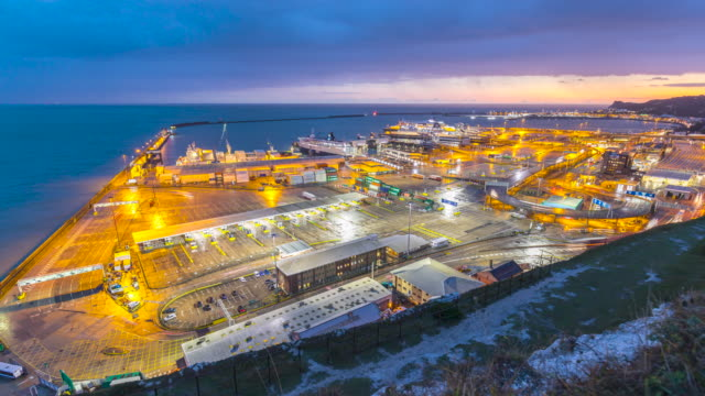 day-to-night time lapse of the port of dover, uk - docks stock videos & royalty-free footage