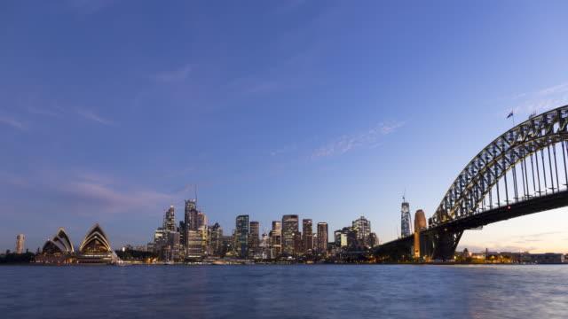 day-to-night timelapse of sydney skyline, nsw, australia - cityscape stock videos & royalty-free footage