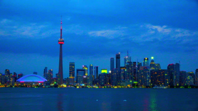 dazzling toronto skyline at night including the cn tower, canada - ontario canada stock videos and b-roll footage