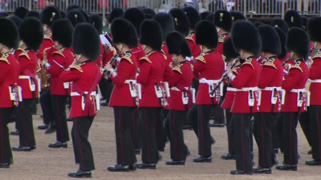 duchess of cambridge attends beating retreat event at horse guards parade england london horse guards parade gvs marching band of guards / gvs kate... - duchess of cambridge stock videos and b-roll footage