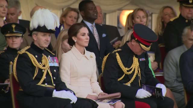 duchess of cambridge attends beating retreat event at horse guards parade england london horse guards parade gvs kate walking along with officers to... - sitting stock videos & royalty-free footage