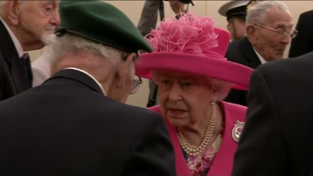 stockvideo's en b-roll-footage met memories of veterans england portsmouth int queen elizabeth talking to dday veterans prince charles prince of wales talking to joan burfield the... - hampshire engeland