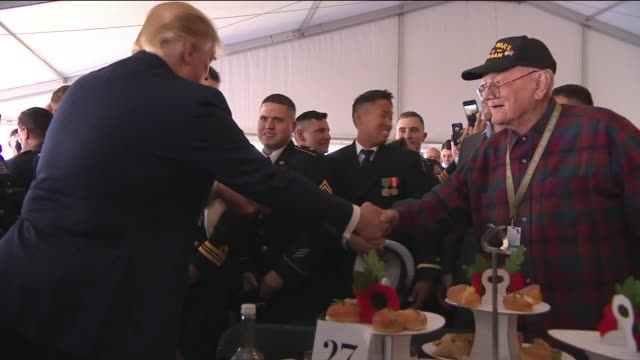prince charles and donald trump meet forces personnel and veterans england hampshire portsmouth quiet*** various of donald trump and melania trump... - präsident der usa stock-videos und b-roll-filmmaterial