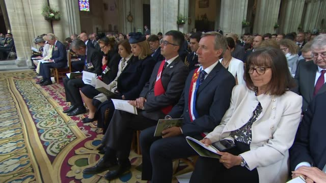 prince charles the duchess of cornwall and senior british politicians attend bayeux cathedral service france normandy bayeux bayeux cathedral gv... - praying stock videos & royalty-free footage