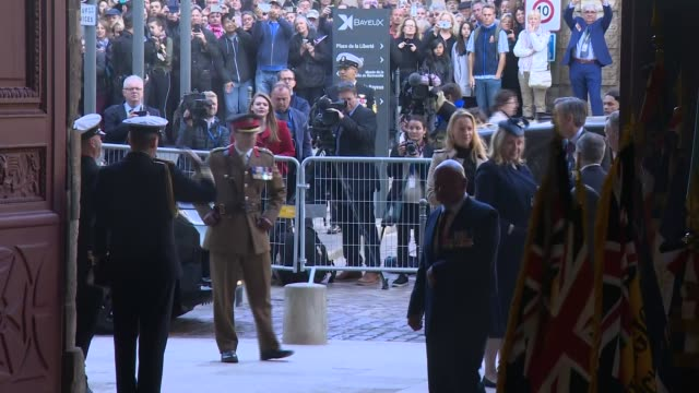 prince charles the duchess of cornwall and senior british politicians attend bayeux cathedral service france normandy bayeux bayeux cathedral int... - jeremy corbyn stock videos and b-roll footage
