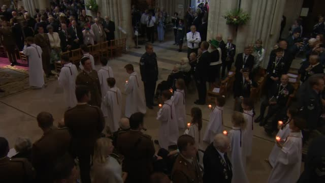 prince charles the duchess of cornwall and senior british politicians attend bayeux cathedral service france normandy bayeux bayeux cathedral prince... - clergy stock videos & royalty-free footage