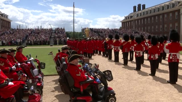 prince harry visiting chelsea pensioners england london chelsea ext prince harry duke of sussex and chelsea pensioners observing national anthem... - prince stock videos and b-roll footage
