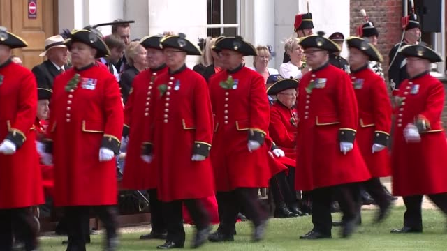 prince harry visiting chelsea pensioners england london chelsea ext prince harry duke of sussex stood on platform watching band playing as chelsea... - prince stock videos and b-roll footage