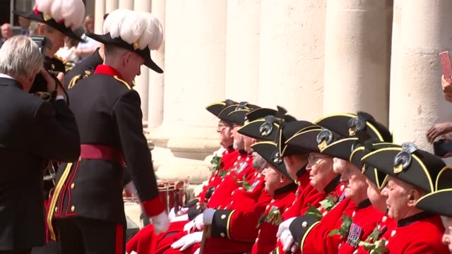 prince harry visiting chelsea pensioners england london chelsea ext prince harry duke of sussex shaking hands with chelsea pensioners standing in a... - other stock videos and b-roll footage