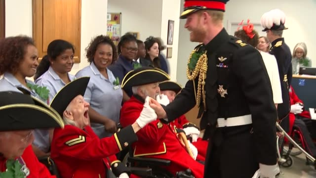 prince harry visiting chelsea pensioners england london chelsea photography** chelsea pensioners / prince harry duke of sussex meeting staff and... - prince stock videos and b-roll footage